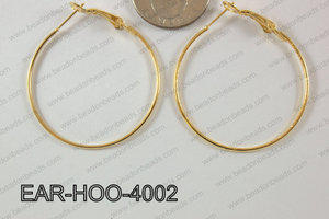 Hoop Earring 1.2mm thick x 40mm Gold EAR-HOO-4002