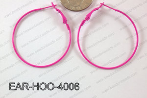 Hoop Earring 1.2mm thick x 40mm Hot pink EAR-HOO-4006