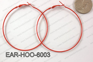 Hoop Earring 1.2mm thick x 60mm Red  EAR-HOO-6003