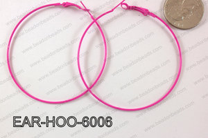 Hoop Earring 1.2mm thick x 60mm Hot pink EAR-HOO-6006