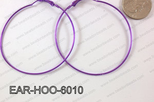 Hoop Earring 1.2mm thick x 60mm Purple EAR-HOO-6010