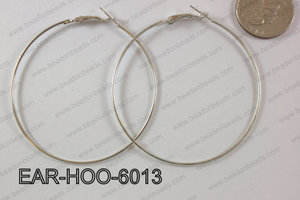 Hoop Earring 1.2mm thick x 60mm Dark Silver EAR-HOO-6013