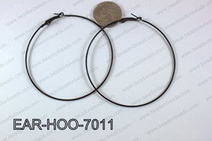 Hoop Earring 1.2mm thick x 70mm Black EAR-HOO-7011