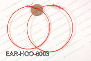 Hoop Earring 1.2mm thick x 80mm Red EAR-HOO-8003