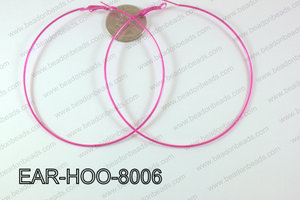 Hoop Earring 1.2mm thick x 80mm Hot pInk EAR-HOO-8006