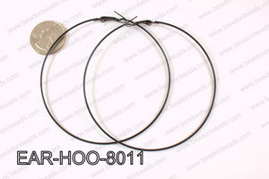 Hoop Earring 1.2mm thick x 80mm Black EAR-HOO-8011