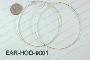 Hoop Earring 1.2mm thick x 90mm Silver  EAR-HOO-9001