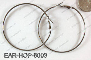 Basketball wives Gun Metal Hoop Earring 60mm EAR-HOP-6003