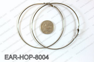 Hoop Earrings 80mm EAR-HOP-8004 Gun Metal