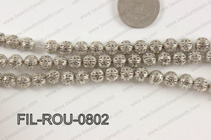 Base Metal Filligree Round Anti Silver 8mm FIL-ROU-0802