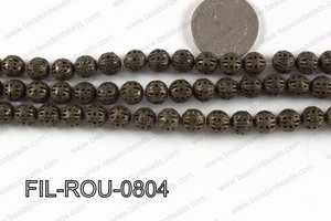 Base Metal Filligree Round Bronze 8mm FIL-ROU-0804