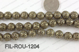 Base Metal Filligree Round Bronze 12mm FIL-ROU-1204