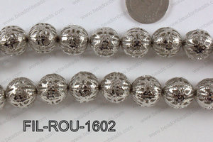 Base Metal Filligree Round Anti Silver 16mm FIL-ROU-1602