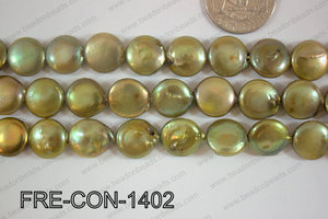 Freshwater Pearl Coin Green 14-15mm FRE-CON-1402