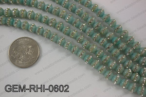 Dyed jade with cubic zirconia stones 6mmGEM-RHI-0602