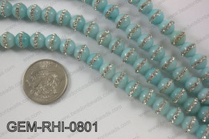 Dyed jade with cubic zirconia stones 8mmGEM-RHI-0801