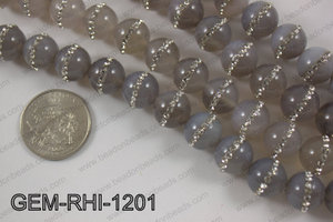 Agate with cubic zirconia stones 12mmGEM-RHI-1201