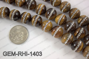 Tiger eye  with cubic zirconia stones 14mmGEM-RHI-1403