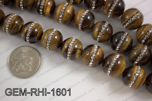 Tiger eye  with cubic zirconia stones 16mmGEM-RHI-1601