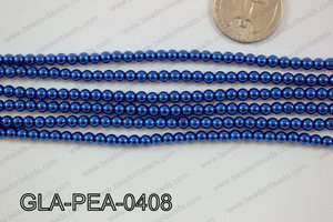 Glass Pearl Round 4mm Dark Blue GLA-PEA-0408