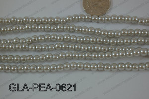 Glass Pearl Round 6mm silver GLA-PEA-0621