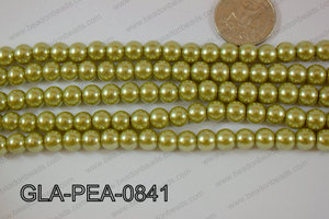 Glass Pearl Round 8mm Green GLA-PEA-0841