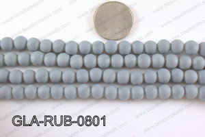 Glass Pearl with Rubber Coating Grey 8mm GLA-RUB-0801