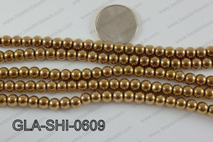 Shimmer Glass beads Metallic Brown 6mm GLA-SHI-0609