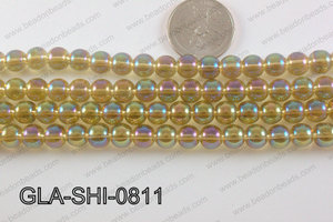 Glass Round Shimmer Dark Champagne AB 8mm GLA-SHI-0811