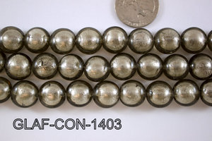 Foil Glass Bead Coin 14mm 20pcs GLAF-CON-1403