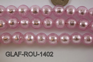 Foil Glass Bead Round 14mm 20pcs GLAF-ROU-1402