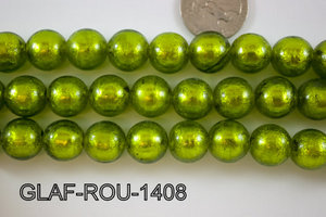 Foil Glass Bead Round 14mm 20pcs GLAF-ROU-1408