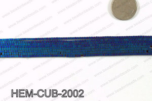 Matte metallic coated hematite 2x2mm HEM-CUB-2002