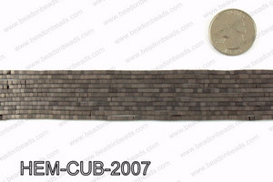 Matte metallic coated hematite 2x2mm HEM-CUB-2007