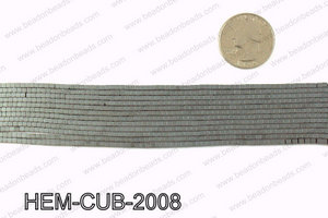 Matte metallic coated hematite 2x2mm HEM-CUB-2008