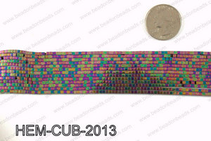 Metallic coated hematite 2x2mm HEM-CUB-2013