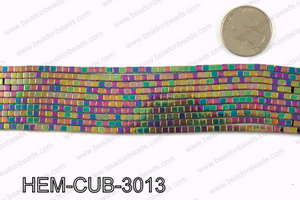 Metallic coated hematite 3x3mm HEM-CUB-3013