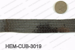 Metallic coated hematite 3x3mm HEM-CUB-3019