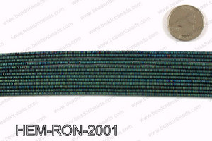 Matte metallic coated hematite 2x1mm HEM-RON-2001