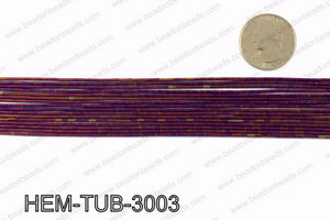 Matte metallic coated hematite 3x1mm HEM-TUB-3003