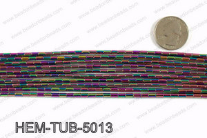 Metallic coated hematite 5x3mm HEM-TUB-5013