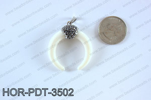 Double horn pendant with crytal bail  HOR-PDT-3502