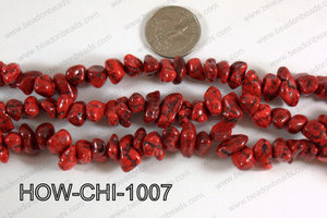 Howlite Chips Red 5x10mm HOW-CHI-1007