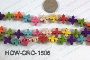 Howlite cross 15mm multi HOW-CRO-1506