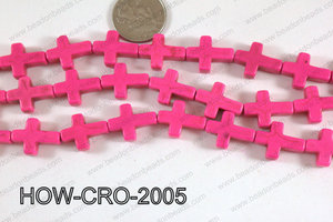 Howlite cross 15x20mm hot pink HOW-CRO-2005