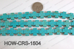 Howlite Cross Turquoise 15X15mm HOW-CRS-1504