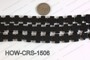 Howlite Cross Black 15X15mm HOW-CRS-1506