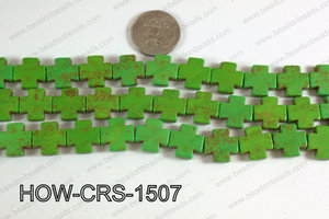 Howlite Cross Green 15X15mm HOW-CRS-1507