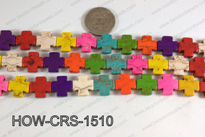 Howlite Cross Multicolor 15X15mm HOW-CRS-1510