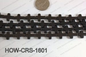 Howlite Cross Black 12x16mm HOW-CRS-1601